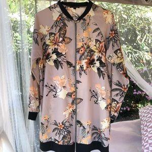 West Kei Long Floral Bomber Jacket Beige Size L